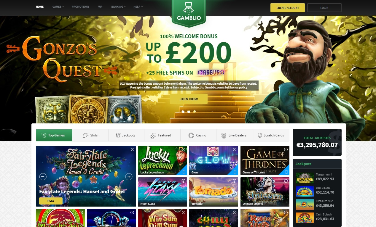 Gamblio Casino Homepage