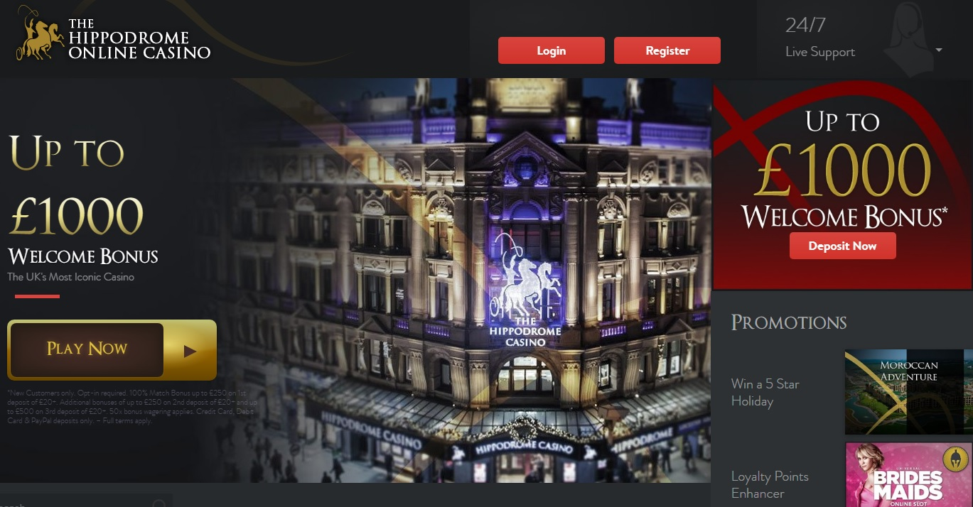 The Hippodrome Online Casino Homepage