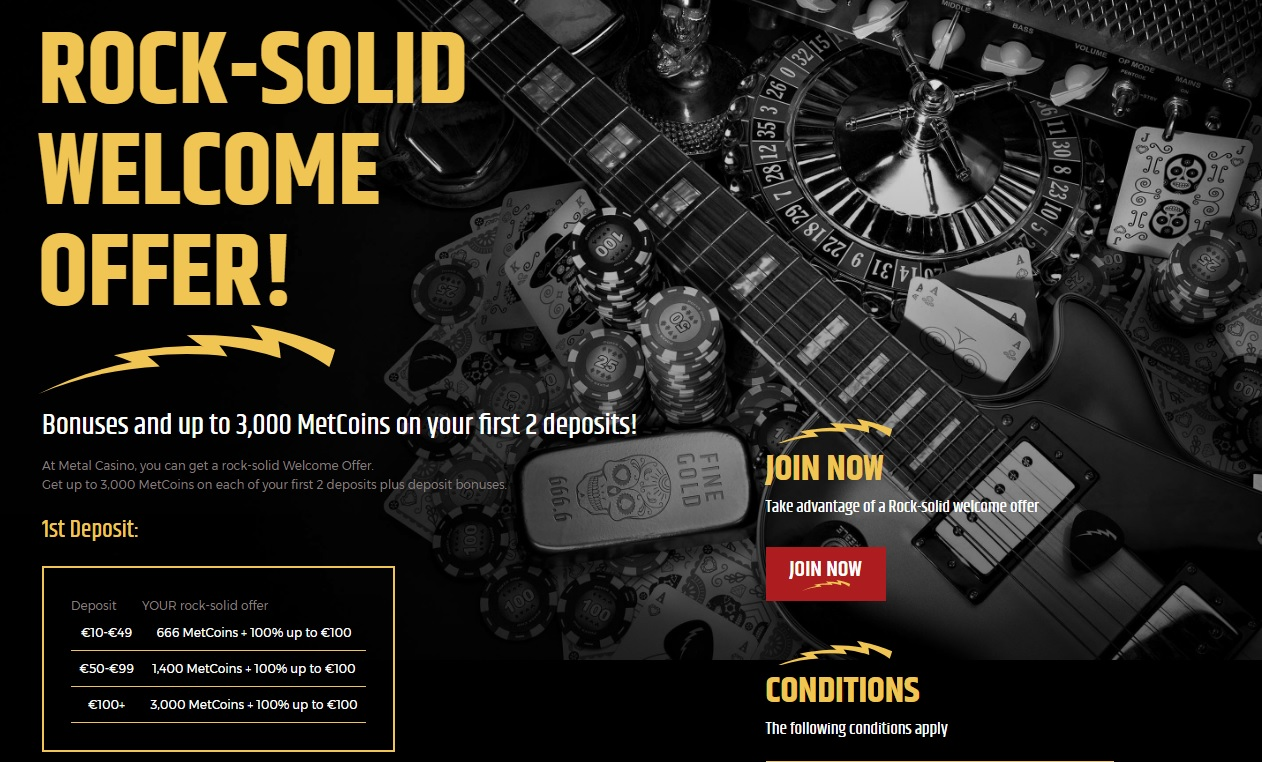 Rock-Solid Welcome Offer at Metal Casino