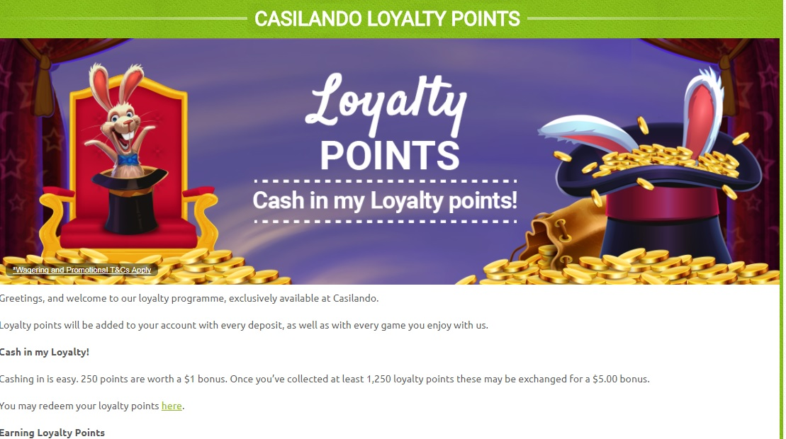 Casilando Loyalty Points