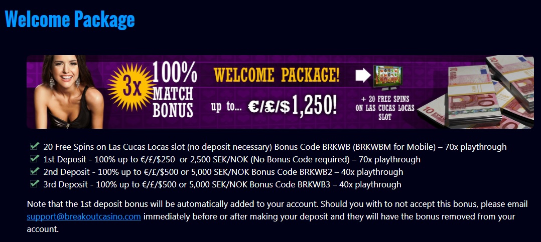 Breakout Casino Welcome Package