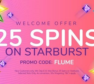 Flume Casino - 25 Free Spins Welcome Offer