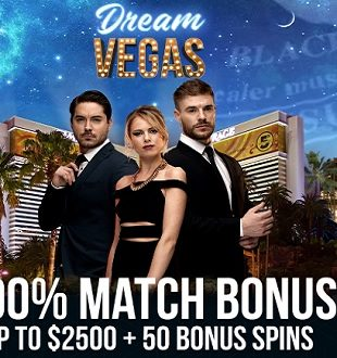 Dream Vegas Casino - 200% Match Bonus - Homepage Screencap