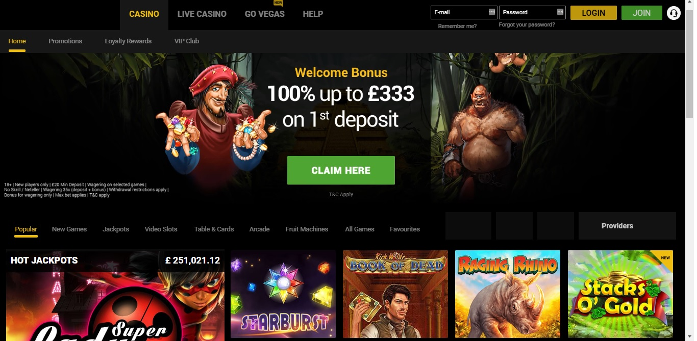 GoWild Casino Homepage