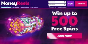 MoneyReels Casino - Homepage and welcome offer