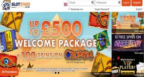 Slots Stars Casino Welcome Offer - Homepage screencap