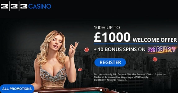333 Casino - Welcome Offer on Homepage
